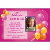 Pink Party Custom Photo Personalized Invitations