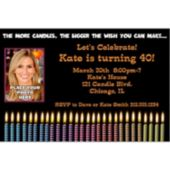 Colorful Candles Custom Photo  Personalized Invitations