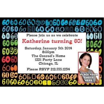 Colorful Sixty Custom Photo Personalized Invitations