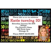Colorful Fifty Custom Photo Personalized Invitations