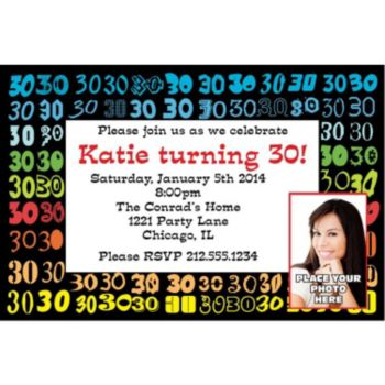 Colorful Thirty Custom Photo Personalized Invitations