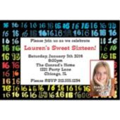 Colorful Sweet 16 Custom Photo Personalized Invitations