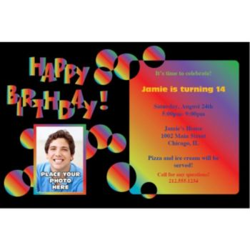 Birthday Bright Custom Photo Personalized Invitations