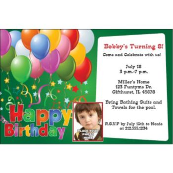 Balloons on Green Custom Photo Personalized Invitations