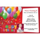 Balloons on Red Custom Photo Personalized Invitations