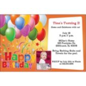 Balloons On Orange  Custom Photo Personalized Invitations