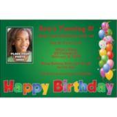 Balloon Birthday Green Custom Photo Personalized Invitations