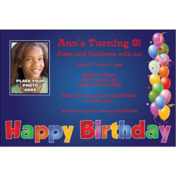 Balloon Birthday Blue Custom Photo Personalized Invitations