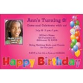 Balloon Birthday Pink Custom Photo Personalized Invitations