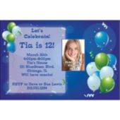 Blue Party Custom Photo Personalized Invitations