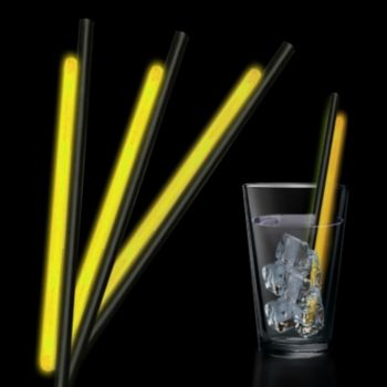 Yellow Glow 9'' Straw - 25 Pack