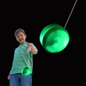 White Plastic 2'' Yo Yo with Green Lights