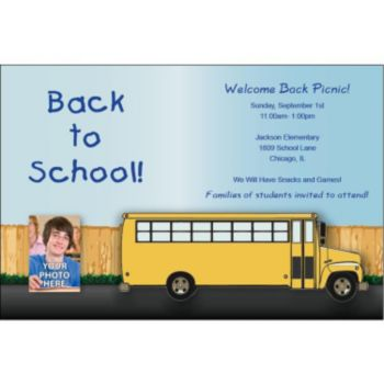 School Bus Custom Photo Personalized Invitations
