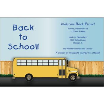 School Bus Personalized Invitations