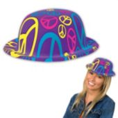 Peace Sign Plastic Derby Hat