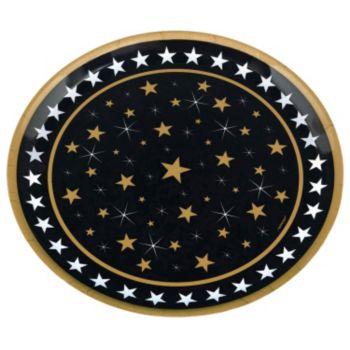 "Gold & Silver Stars  13 12"" Platter"