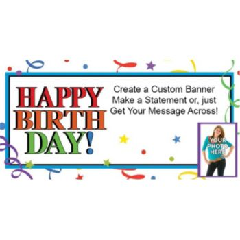 Birthday Ribbons Custom Photo Banner