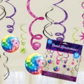 Disco Fever Hanging Swirls Decorations-12 Pack