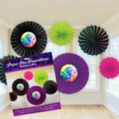 Disco Fever Paper Fan Decorations-6 Pack