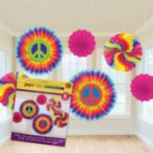60's Retro Hanging Fan Decorations-6 Pack