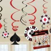 Casino Hanging Swirl Decorations-12 Pack