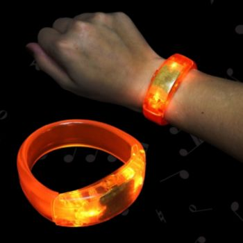 Orange Sound Activated LED Bangle Bracelet - 8 inch