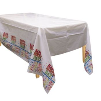 Birthday Ribbons Plastic Table Cover