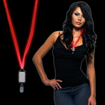 Red LED Lanyard with Badge Clip