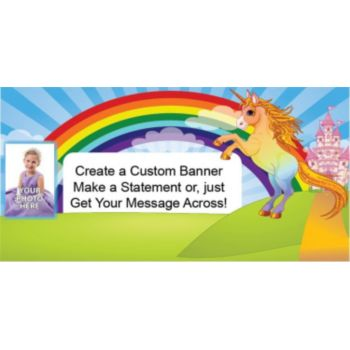 Unicorn Rainbow Custom Photo Banner