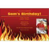 Red Hot Flames Custom Photo Invitations