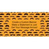 Mustache Mania Orange Custom Banner
