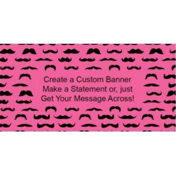 Mustache Mania Pink Custom Banner