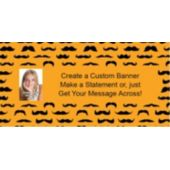 Mustache Mania Orange Custom Photo Banner