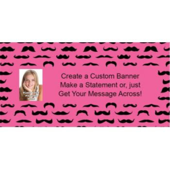 Mustache Mania Pink Custom Photo Banner
