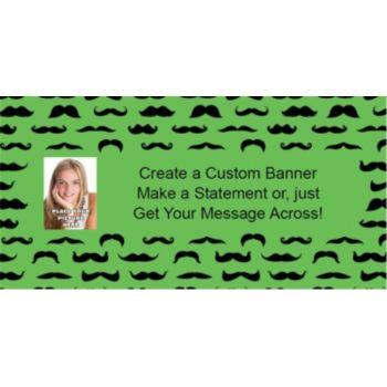 Mustache Mania Green Custom Photo Banner