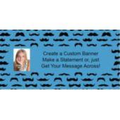 Mustache Mania Blue Custom Photo Banner