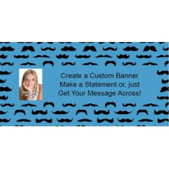 Mustache Mania Blue Custom Photo Banner