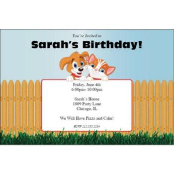 Playful Pets Personalized Invitations