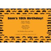 Mustache Mania Orange Personalized Invitations