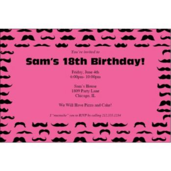Mustache Mania Pink Personalized Invitations