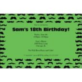 Mustache Mania Green Personalized Invitations