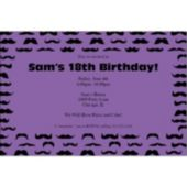 Mustache Mania Purple Custom Invitations