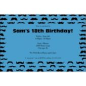 Mustache Mania Blue Personalized Invitations