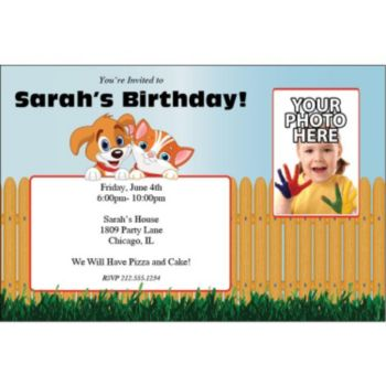 Playful Pets Custom Photo Personalized Invitations