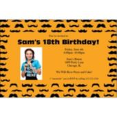 Mustache Mania Orange Custom Photo Personalized Invitations