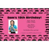 Mustache Mania Pink Custom Photo Personalized Invitations