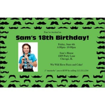 Mustache Mania Green Custom Photo Invitations