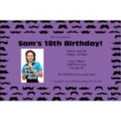 Mustache Mania Purple Custom Photo Personalized Invitations
