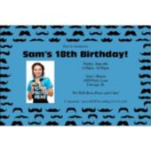 Mustache Mania Blue Custom Photo Invitations