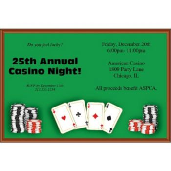 Poker Table Personalized Invitations